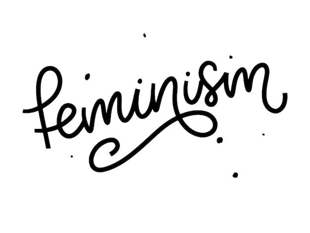 Typographique. lettre de féminisme. élément graphique. lettrage de typographie.