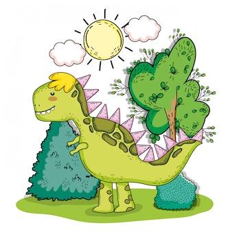 Tyrannosarus dino animal préhistorique avec arbustes