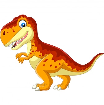 Tyrannosaure dessin animé isolé sur blanc