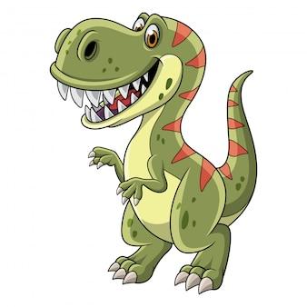 Tyrannosaure dessin animé isolé sur fond blanc