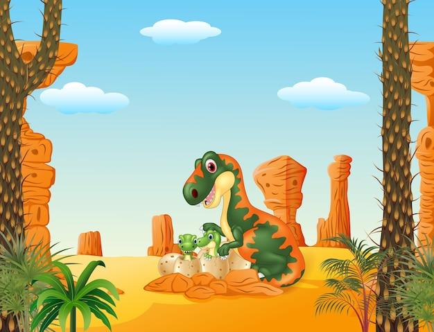 Tyrannosaure mère avec bébé en train d'éclore