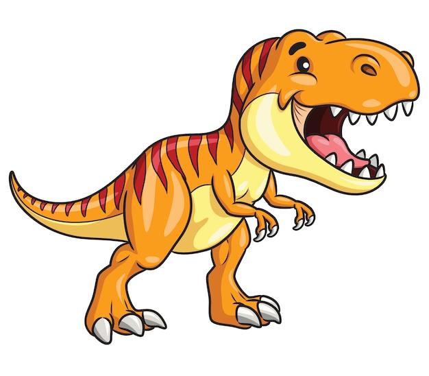 Tyrannosaurus Rex Cartoon Vecteur Premium