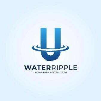 U dégradé bleu lettre eau ondulation splash vague logo dynamique icône vector illustration