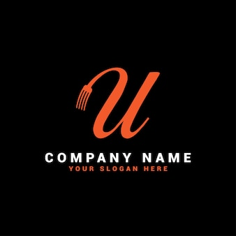 U food letter logo avec symbole de fourchette