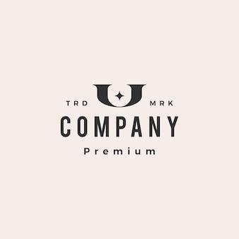 U lettre étoile hipster logo vintage