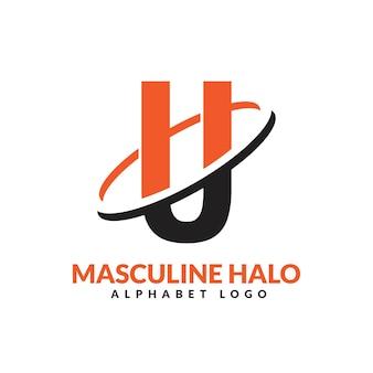 U lettre orange et noir anneau géométrique masculin logo vector illustration icône