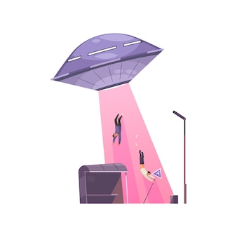 Ufo enlevant des gens effrayés avec un dessin animé de rayon rose