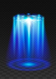 Ufo faisceau de lumière bleue.