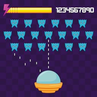 Ufos de jeu vidéo classique voler