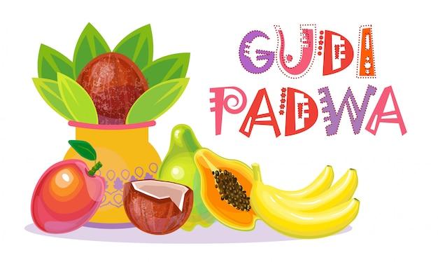 Ugadi et gudi padwa - carte de voeux pour le nouvel an hindou