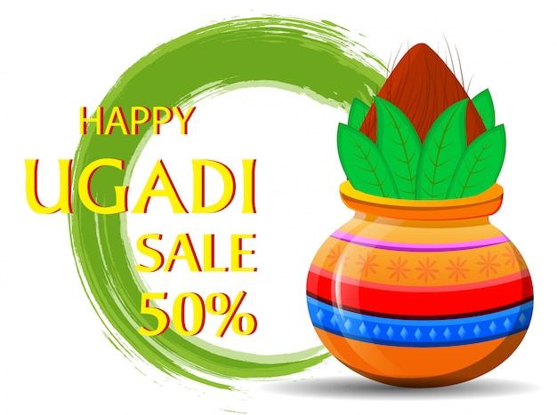 Ugadi heureux avec kalash décoré.