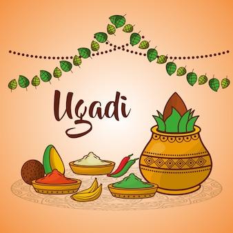 Ugadi pot en céramique alimentaire épices coco décoration traditionnelle