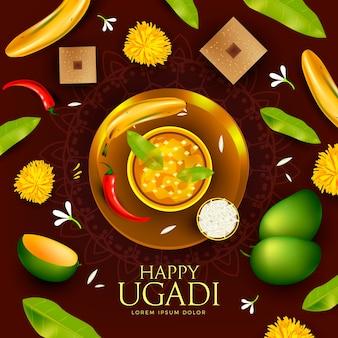 Ugadi réaliste avec de la nourriture