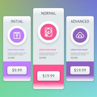 Ui. boutons du widget de liste de prix de l'interface utilisateur. .