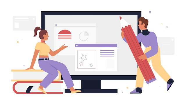 Ui ux design web development développeurs assis à côté d'un écran d'ordinateur tenant un crayon