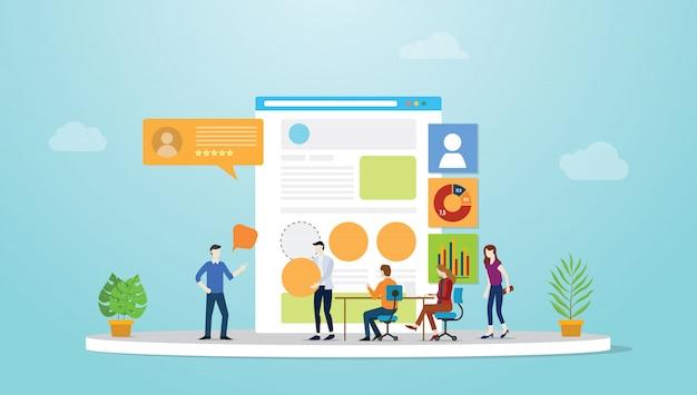 Ui ux interface utilisateur et développement de concept de design d'expérience utilisateur avec des membres de l'équipe et un navigateur avec un style plat moderne.