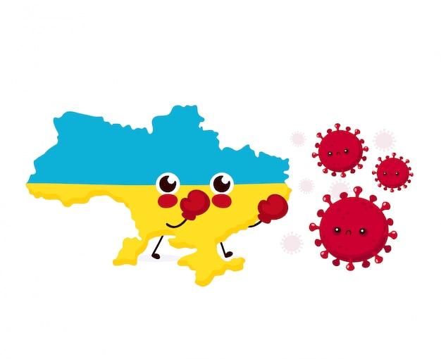 L'ukraine mignonne se bat avec une infection à coronavirus. illustration de personnage de dessin animé de style plat