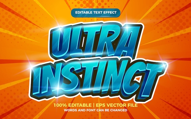 Ultra instinct modifiable effet de texte dessin animé modèle comique fond de demi-teinte