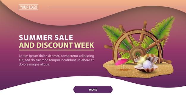 Ummer sale and discount week, bannière web moderne à remise horizontale pour votre site web