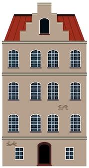 Un bâtiment de style hollandais sur fond blanc