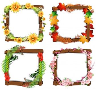 Un ensemble de cadre en bois de fleur