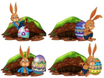 Un ensemble de lapin de Pâques