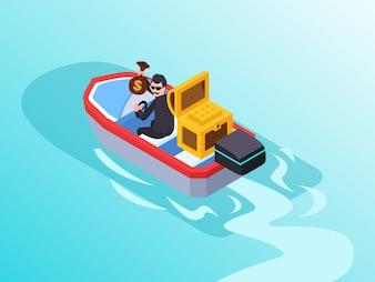 Un homme d'affaires qui agit comme un voleur volant de l'argent et s'échappant en conduisant un bateau