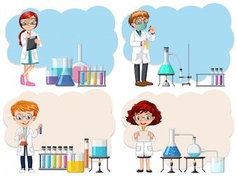 Un jeune scientifique en modèle de laboratoire