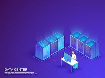 Un serveur de données bleu brillant connecté entre eux.
