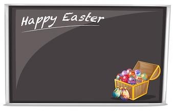 Un tableau avec une joyeuse fête de Pâques