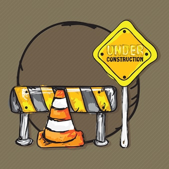 Under construction icons with traffic cones (collection set)