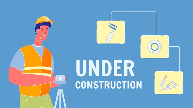 Under construction vector web banner with text