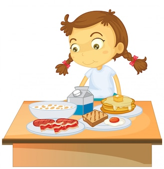 Une fille mangeant un petit déjeuner sur fond blanc