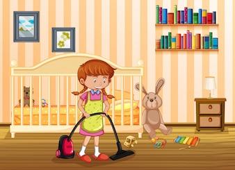 Une mère nettoie la chambre des enfants