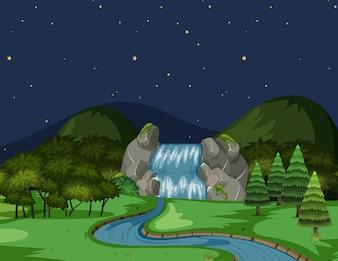 Une vue sur la rivière la nuit