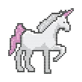 Unicorn animal christmas sweater pixel tricoté vector art