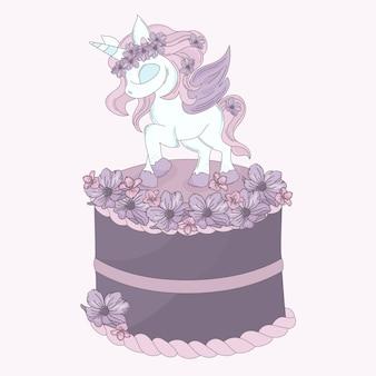 Unicorn cake cartoon de fête d'anniversaire