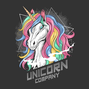 Unicorn plein couleur avec des oeuvres d'oeurs en or et en cheveux de rainbow