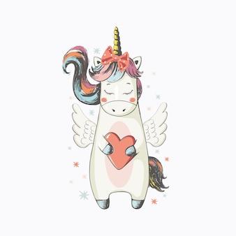 Unicorncartoon dessiné à la main peut être utilisé pour le design d'impression de mode d'impression de t-shirt pour bébé