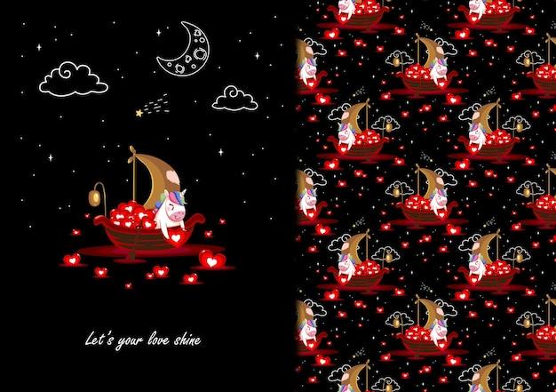 Unicron sur le bateau a pris le motif de la lanterne de l'amour