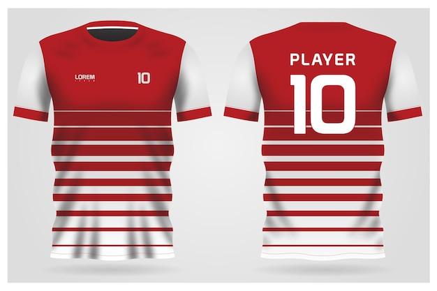 Uniforme De Maillot De Football à Rayures Blanches Rouges Pour Club De Football, T-shirt Avant Et Arrière Vecteur Premium