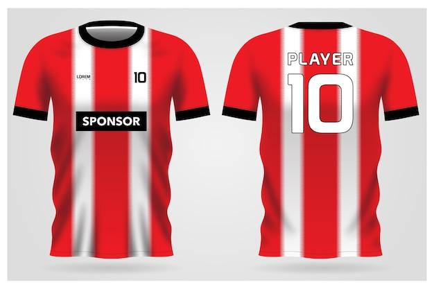 Uniforme de maillot de football à rayures blanches rouges pour club de football, t-shirt avant et arrière