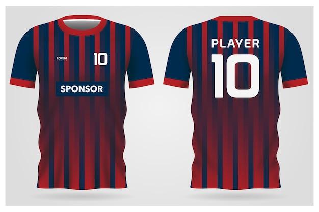 Uniforme de maillot de football à rayures bleues rouges pour club de football, t-shirt avant et arrière