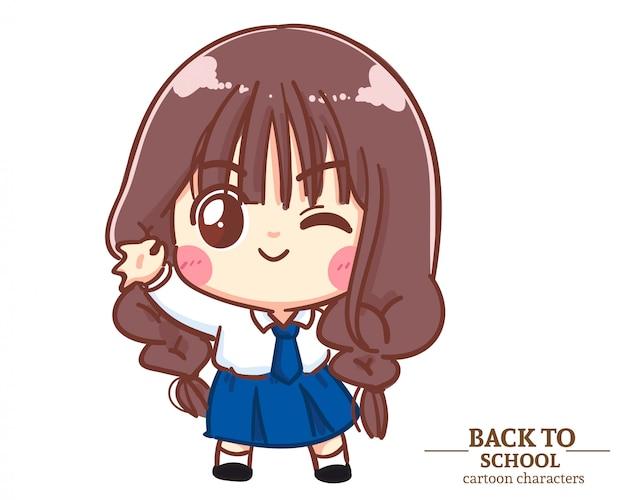 Uniformes d'étudiants pour enfants cute girl lève les mains dans une posture ok pour retourner à l'école. illustration de dessin animé vecteur premium