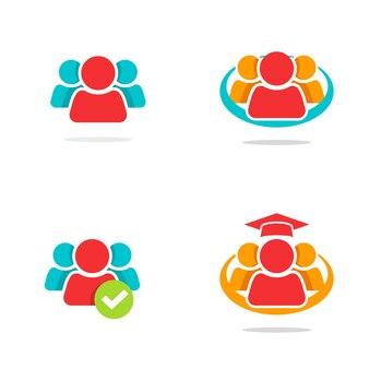 Union de travail d'équipe de direction de logo de concept de personnes ou idée abstraite d'icône de communauté de réseau d'équipe sociale