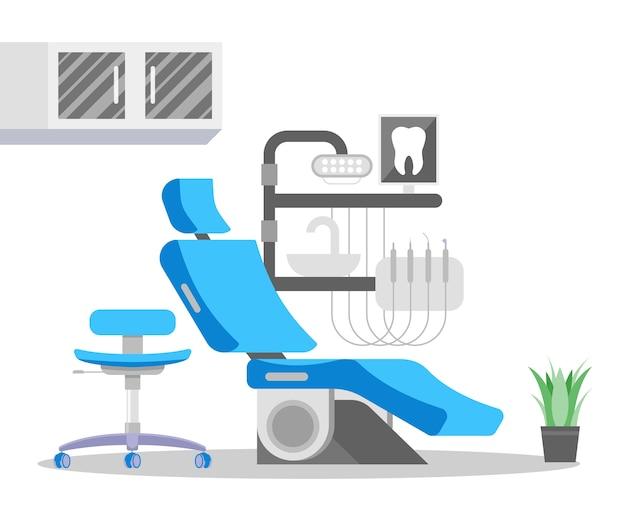 Unité de chaise dentaire avec pièces à main réglables, évier, lampe et étagères. équipement de dentisterie moderne. bureau de dentiste. intérieur de la clinique de dentisterie ou de stomatologie