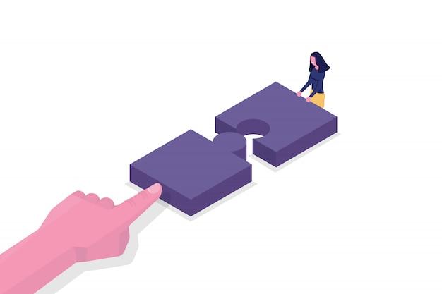 Unité, concept isométrique de travail d'équipe. connectez deux pièces de puzzle. illustration vectorielle.