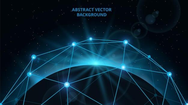 Univers connecté. planète numérique, communication de carte web.