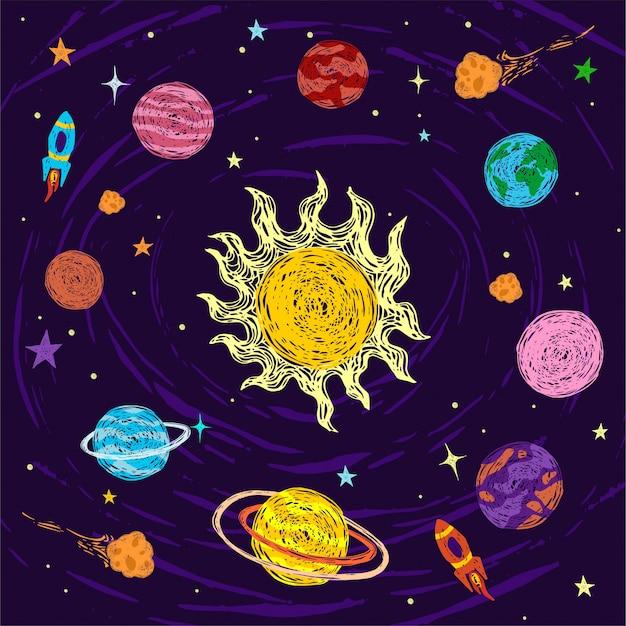 Univers. espace. voyage dans l'espace. conception. illustration