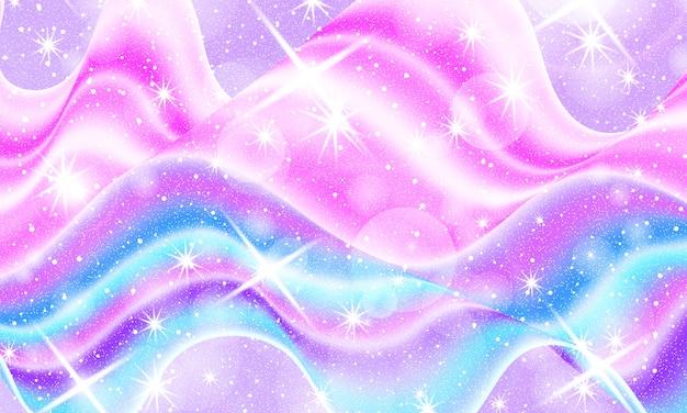 Univers fantastique. fond de fée. étoiles magiques holographiques. motif de licorne.